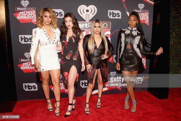 Singers Dinah Jane Lauren Jauregui Ally Brooke and Normani Kordei of Fifth Harmony attend the 2017 iHeartRadio Music Awards which broadcast live on...