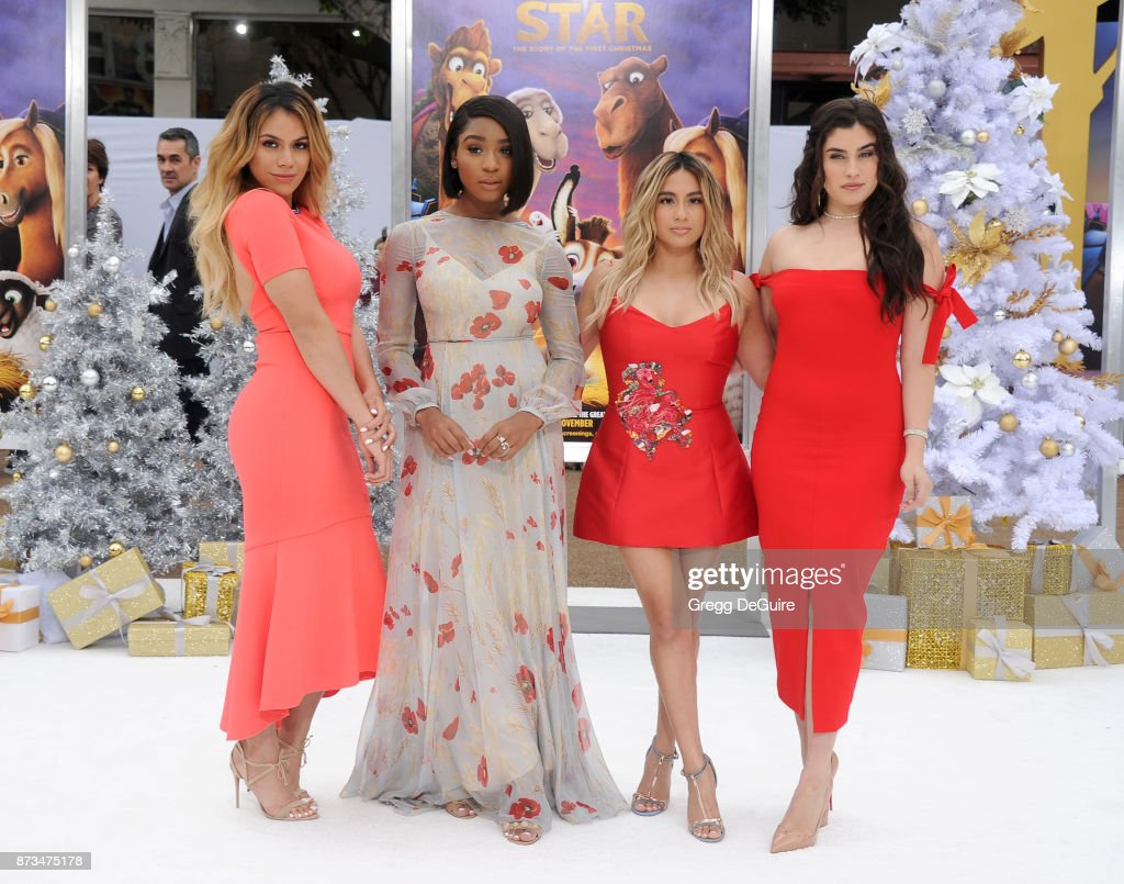 Singers Dinah Jane, Normani Kordei, Ally Brooke and Lauren Jauregui of Fifth Harmony arrive at the premiere of Columbia Pictures' 'The Star' at Regency Village Theatre on November 12, 2017 in Westwood, California.