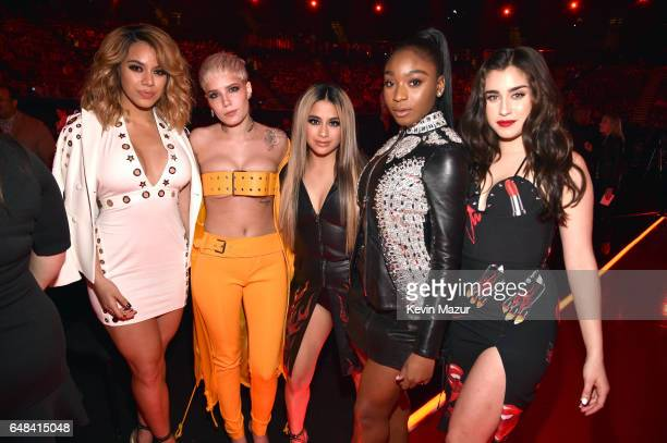 Singers Dinah Jane of Fifth Harmony Halsey and Ally Brooke Normani Kordei and Lauren Jauregui of Fifth Harmony attend the 2017 iHeartRadio Music...