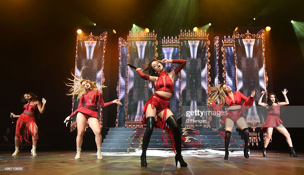 Singers Dinah-Jane Hansen, Normani Hamilton, Ally Brooke, Camila Cabello and Lauren Jauregui of Fifth Harmony perform during the 6th Annual 99.7 NOW! Triple Ho Show at SAP Center on December 2, 2015 in San Jose, California.