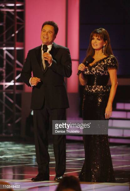 Singers Donny Osmond and Marie Osmond attend the 2008 Miss USA Competition at Planet Hollywood Resort Casino on April 11 2008 in Las Vegas Nevada