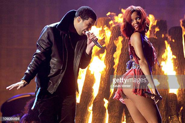 Singers Drake and Rihanna perform onstage during The 53rd Annual GRAMMY Awards held at Staples Center on February 13 2011 in Los Angeles California