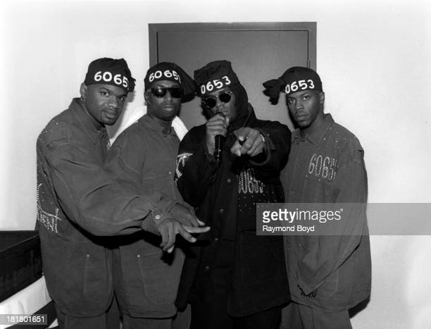 R Kelly And Public Announcement poses for photos backstage at the Regal Theater in Chicago Illinois in JANUARY 1991