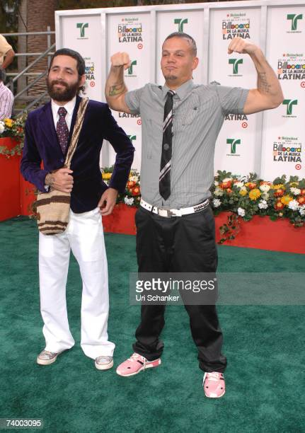 Singers Eduardo Cabre and Rene Perez of Calle 13 attend the 2007 Billboard Latin Music Awards at the Bank United Center April 26 2007 in Coral Gables...