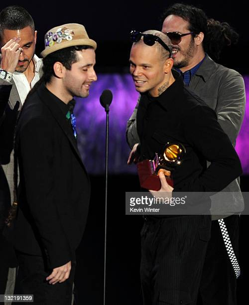 Singers Eduardo Jose Cabra Martinez aka Visitante and Rene Perez Joglar aka Residente of Calle 13 accept the Best Tropical Song award during the 12th...