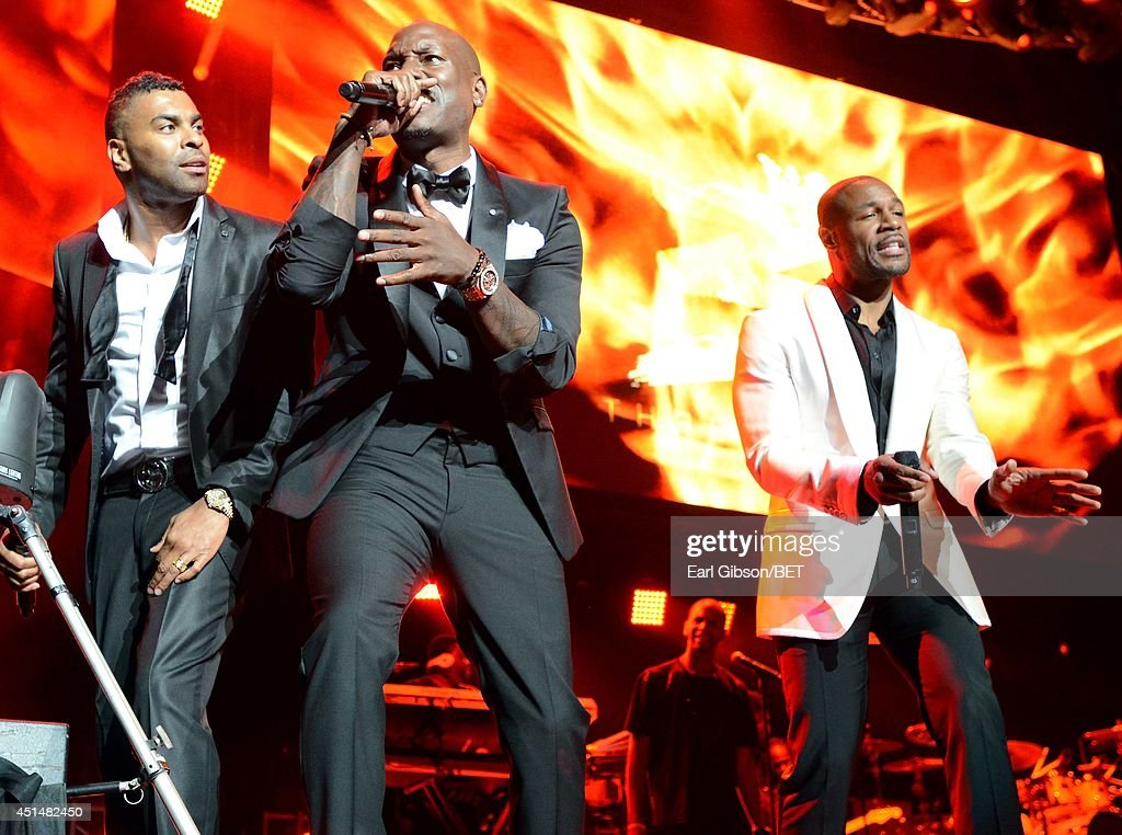 Singers Elgin Baylor Lumpkin aka Ginuwine, Tyrese Darnell Gibson aka Tyrese, and Durrell Babbs aka Tank of TGT perform onstage at the Mary J. Blige, Trey Songz And Jennifer Hudson Concert Presented By King.com during the 2014 BET Experience At L.A. LIVE on June 29, 2014 in Los Angeles, California.