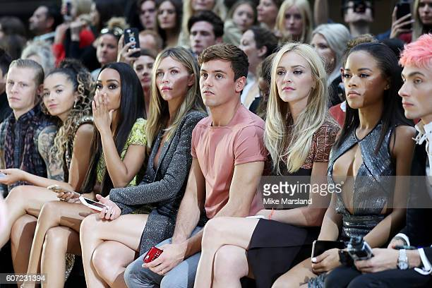 Singers Ella Eyre LeighAnne Pinnock model Abbey Clancy athlete Tom Daley Fearne Cotton and Serayah McNeill attend the Julien Macdonald show during...