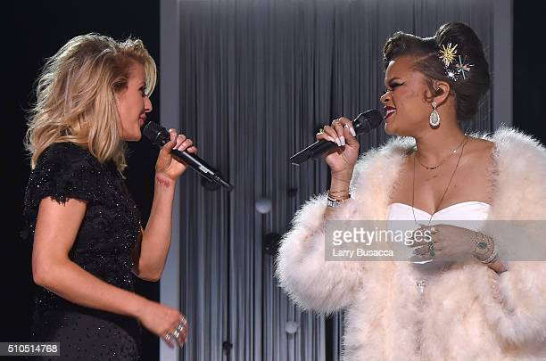 Singers Ellie Goulding and Andra Day perform onstage during The 58th GRAMMY Awards at Staples Center on February 15, 2016 in Los Angeles, California.