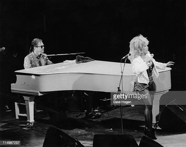 Singers Elton John and Tina Turner perform at the Prince's Trust 10th Anniversary Rock Gala at Wembley Arena London 23rd June 1986