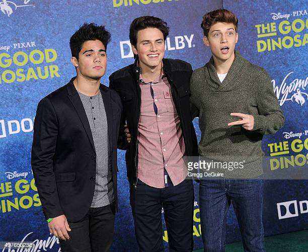 Singers Emery Kelly Liam Attridge and Ricky Garcia of Forever In Your Mind arrive at the premiere of DisneyPixar's 'The Good Dinosaur' on November 17...