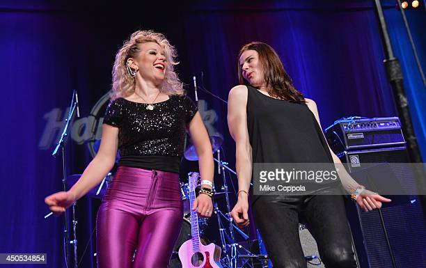 Singers Emily Brown and Jenna Converse of the band The London Wail perform at the Big Kids Rock A Battle Of The Bands To Benefit Little Kids Rock at...