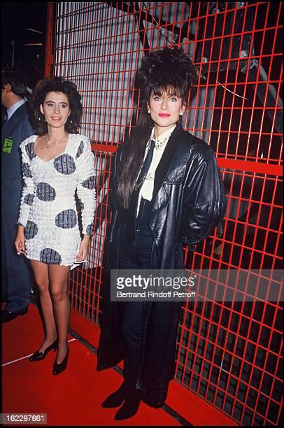"""Singers Emmanuelle Et Julie Pietri at the """"Victoires de la Musique"""" French Music Awards Ceremony, 1987."""
