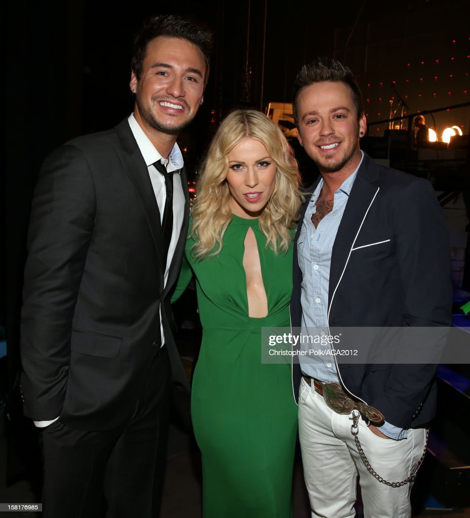 Singers Eric Gunderson of Love and Theft, Natasha Bedingfield and Stephen Barker Liles of Love and Theft attend the 2012 American Country Awards at the Mandalay Bay Events Center on December 10, 2012 in Las Vegas, Nevada.
