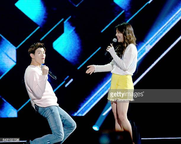 Singers Eric Nam and Ailee perform onstage at KCON 2016 Day 2 at the Prudential Center on June 25 2016 in Newark New Jersey