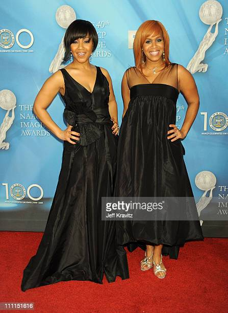 Singers Erica Campbell and Tina Campbell of Mary Mary arrive at the 40th NAACP Image Awards held at the Shrine Auditorium on February 12 2009 in Los...