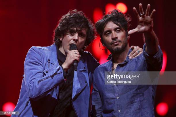 Singers Ermal Meta e Fabrizio Moro representing Italy performs during the second Grand Final Dress Rehearsal of Eurovision Song Contest 2018 in...