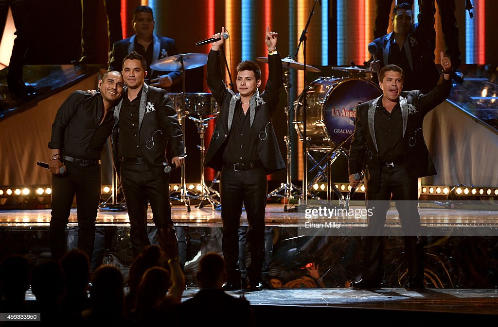 Singers Espinoza Paz, Jose Isidro Beltran Cuen, Vincen Melendres Garcia and Jorge Luis Medina Ramos of La Arrolladora Banda El Limon perform onstage during the 15th Annual Latin GRAMMY Awards at the MGM Grand Garden Arena on November 20, 2014 in Las Vegas, Nevada.