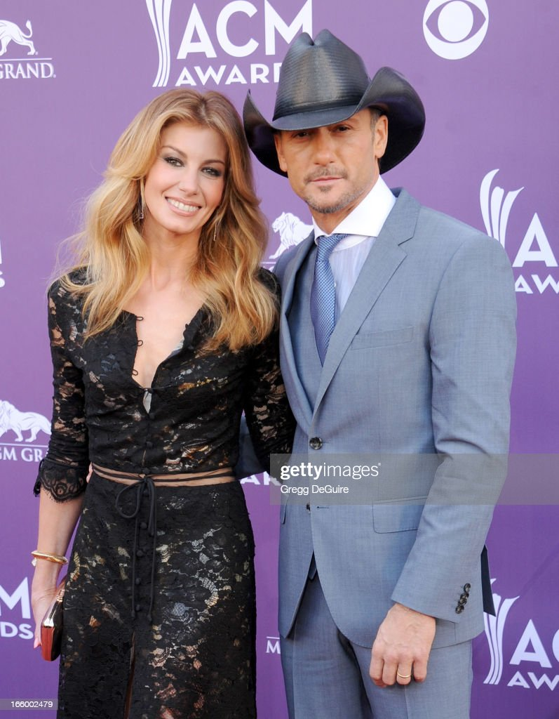 Singers Faith Hill and Tim McGraw arrive at the 48th Annual Academy Of Country Music Awards at MGM Grand Garden Arena on April 7, 2013 in Las Vegas, Nevada.
