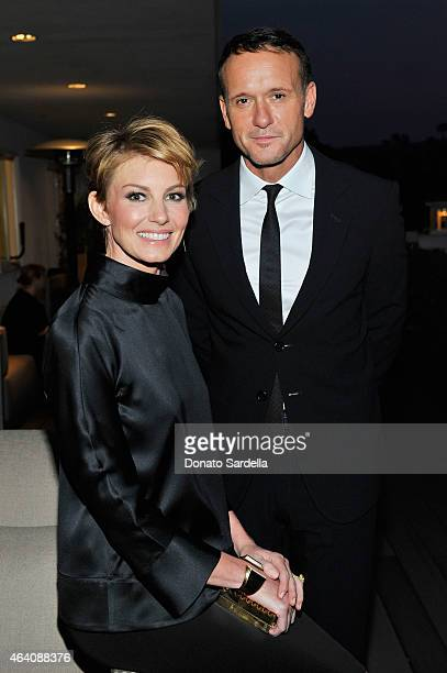 Singers Faith Hill and Tim McGraw attend an intimate toast to the Oscars hosted by Roberta Armani and Cate Blanchett on February 21 2015 in Beverly...