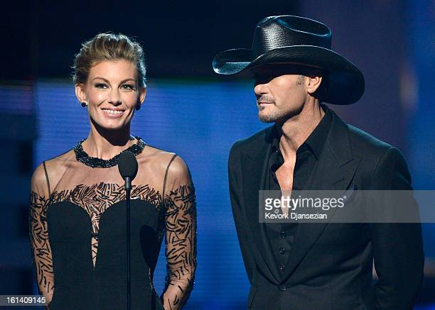 Singers Faith Hill and Tim McGraw speak onstage at the 55th Annual GRAMMY Awards at Staples Center on February 10 2013 in Los Angeles California