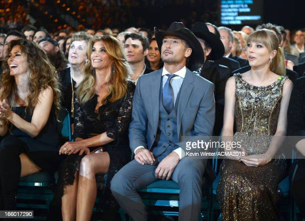 Singers Faith Hill Tim McGraw and Taylor Swift attend the 48th Annual Academy of Country Music Awards at the MGM Grand Garden Arena on April 7 2013...