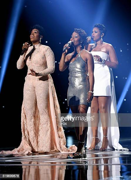 Singers Fantasia Barrino LaToya London and Jennifer Hudson perform onstage at FOX's American Idol Season 15 Finale on April 7 2016 at the Dolby...