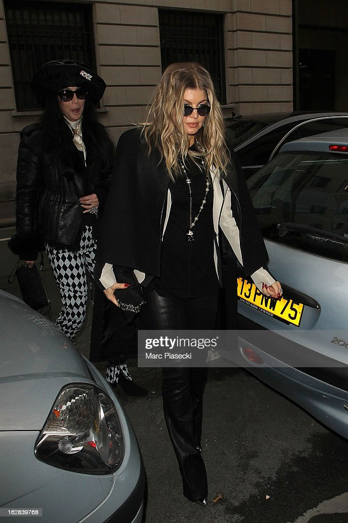 Singers Fergie and Cher are sighted arriving at the 'Rick Owens' store on February 28, 2013 in Paris, France.