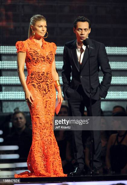 Singers Fergie and Marc Anthony onstage at the 54th Annual GRAMMY Awards held at Staples Center on February 12, 2012 in Los Angeles, California.