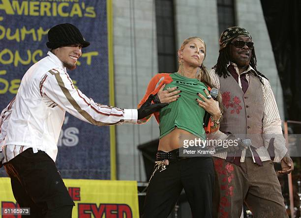 Singers Fergie , Taboo, and Will.i.am of the music group Black Eyed Peas makes an appearance on the Good Morning America Summer Concert Series August...