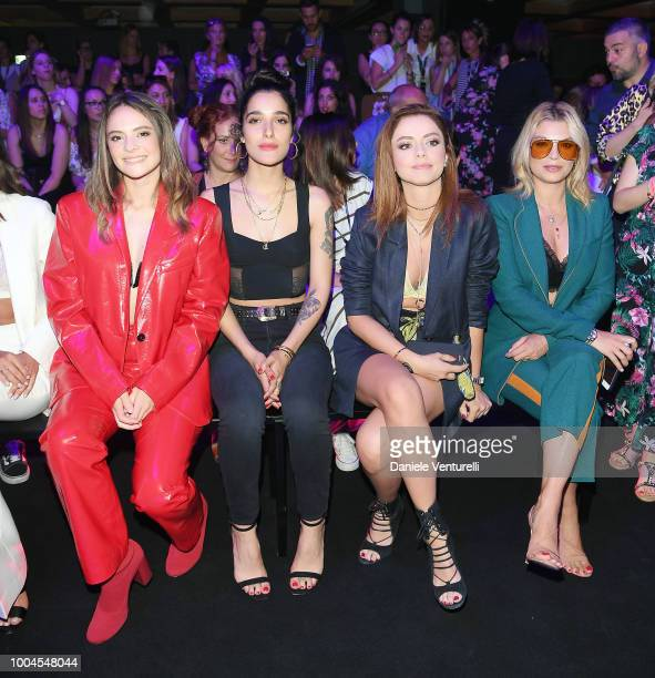 Singers Francesca Michielin Levante Annalisa and Emma Marrone attend the Tezenis show on July 24 2018 in Verona Italy
