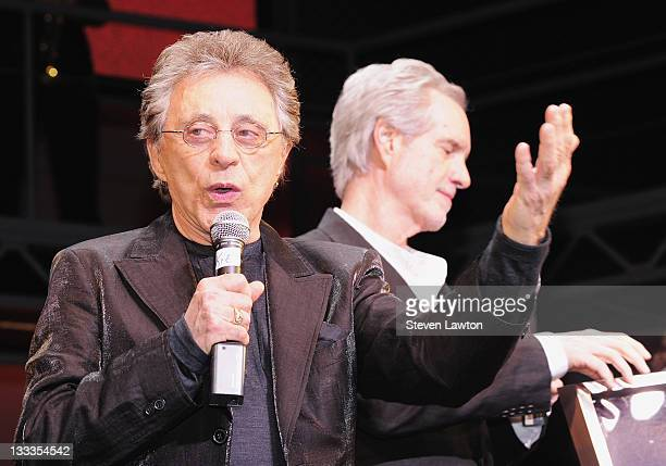 Singers Frankie Valli and Bob Gaudio of The Four Seasons celebrate 2 years of Jersey Boys in Las Vegas with a platinum record commemoration at The...