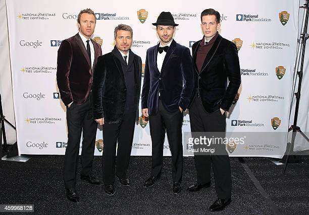 Singers Fraser Walters Remigio Pereira Victor Micallef and Clifton Murray of The Tenors arrive at the 2014 National Christmas Tree Lighting Ceremony...