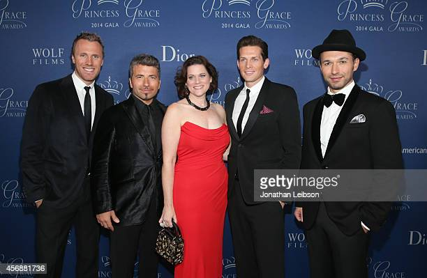 Singers Frazer Walters Remigio Pereira Clifton Murray Victor Micallef of The Tenors and Princess Grace Foundation Executive Director Toby Boshak...