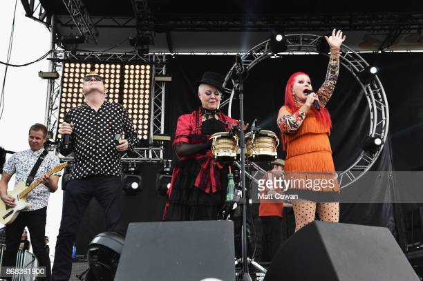 Singers Fred Schneider, Cindy Wilson and Kate Pierson of the The B-52's perform on stage at the Growlers 6 festival at the LA Waterfront on October...