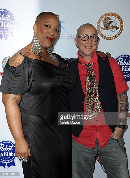 Singers Frenchie Davis and Beverly McClellan arrive at the 10th Anniversary LA Police Protective League's Eagle Badge Foundation Gala on August 30...