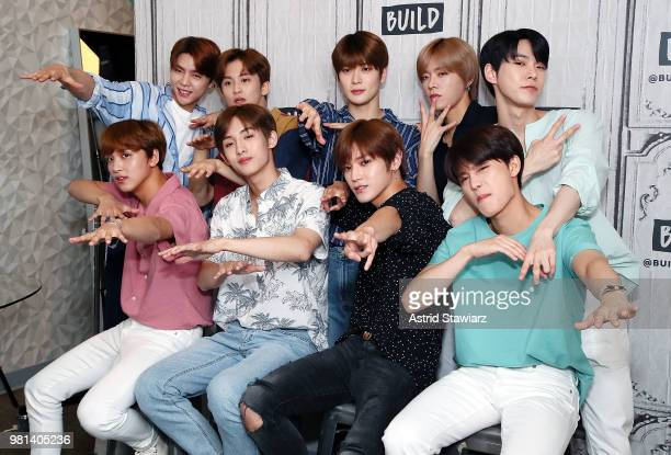 Singers from South Korean boy band NCT 127 Johnny Mark Jaehyun Yuta Doyung Taeil Taeyong Win Win and Haechan visit Build Studio on June 22 2018 in...