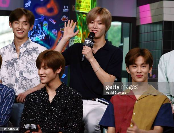 Singers from South Korean boy band NCT 127 Taeyong Yuta Win Win and Mark visit Build Studio on June 22 2018 in New York City