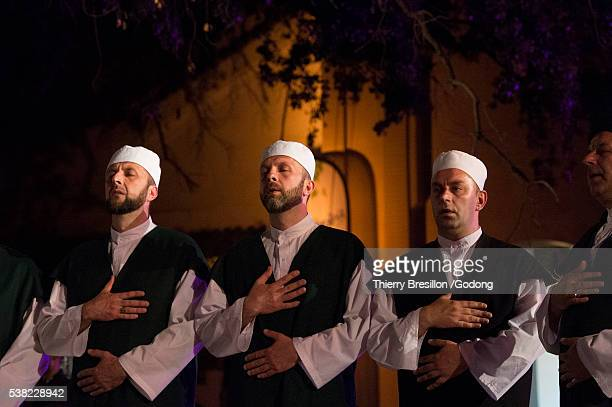 Singers from the Tariqa (brotherhood) Qadiriyya from Bosnia, during the festival of sufi culture in Fes, Morocco.