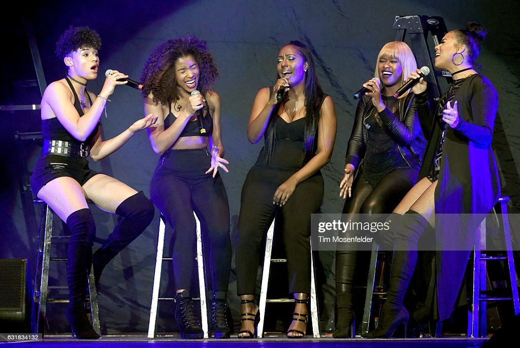 Singers Gabby Carreiro, Brienna DeVlugt, ,Ashley Williams, Shyann Roberts, and Kristal Lyndriette of June's Diary perform at ORACLE Arena on January 15, 2017 in Oakland, California.