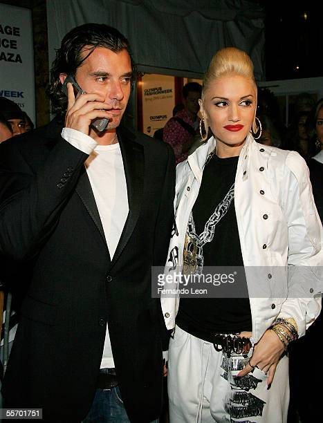 Singers Gavin Rossdale and Gwen Stefani attends day 8 of Olympus Fashion Week Spring 2006 at Bryant Park September 16 2005 in New York City
