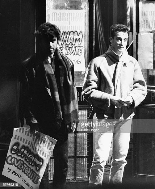 Singers George Michael and Andrew Ridgeley filming scenes for their new 'Wham' music video in Soho London October 29th 1985