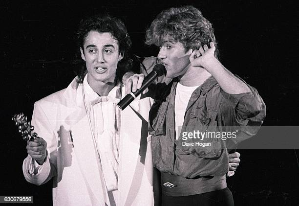 Singers George Michael and Andrew Ridgeley of the band 'Wham' perform on stage on January 24 1985 at Whitley Bay England