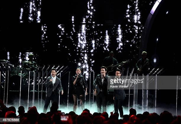 Singers Gianluca Ginoble of Il Volo Natalia Jimenez Ignazio Boschetto and Piero Barone of Il Volo perform perform onstage during the 16th Latin...
