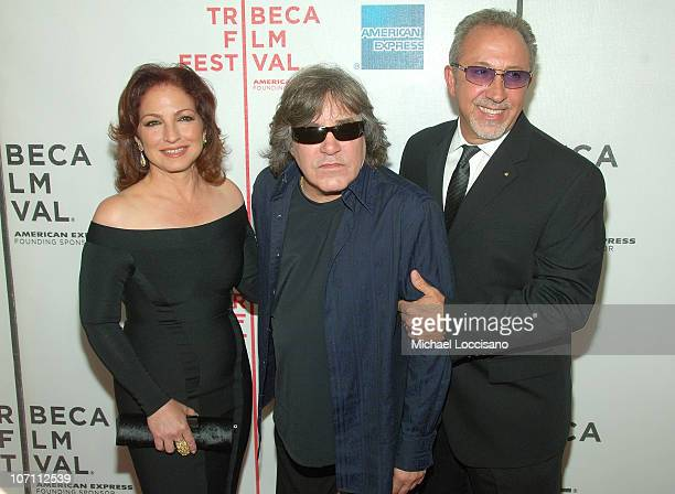 Singers Gloria Estefan and Jose Feliciano and director Emilio Estefan Jr attend the Tribeca Film Festival Conversations In Cinema series for 90 Miles...