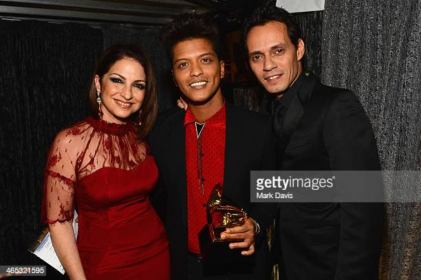 Singers Gloria Estefan Bruno Mars and Marc Anthony attend the 56th GRAMMY Awards at Staples Center on January 26 2014 in Los Angeles California