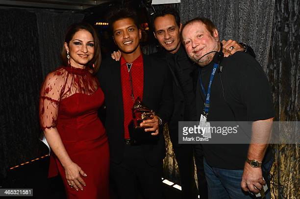 Singers Gloria Estefan Bruno Mars Marc Anthony and producer Kenneth Ehrlich attend the 56th GRAMMY Awards at Staples Center on January 26 2014 in Los...