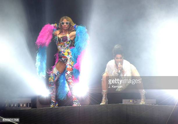 Singers Gloria Trevi and Alejandra Guzman perform at Madison Square Garden on August 12, 2017 in New York City.