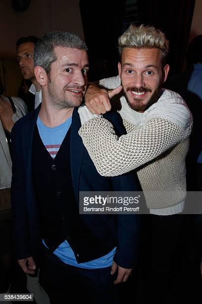 Singers Gregoire Boissenot alias Gregoire and Matt Pokora alias M Pokora attend the Concert of Patrick Bruel at Theatre Du Chatelet on June 6 2016 in...