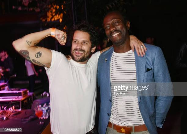 Singers Gunther Love and Marco Prince from the FFF band attend the Spritz Plazza Party at the 118 Warner on September 19 2018 in Paris France