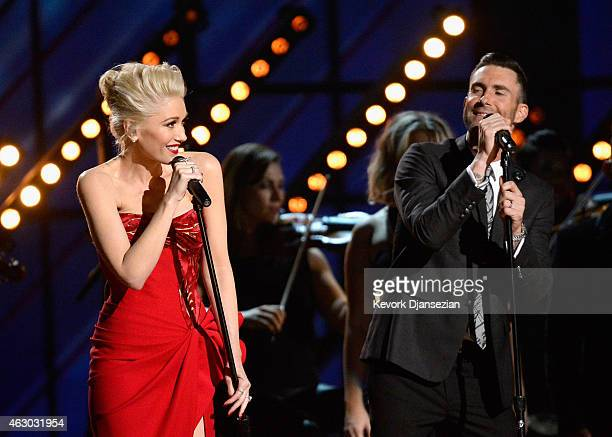 """Singers Gwen Stefani and Adam Levine perform """"My Heart Is Open"""" onstage during The 57th Annual GRAMMY Awards at the at the STAPLES Center on February..."""